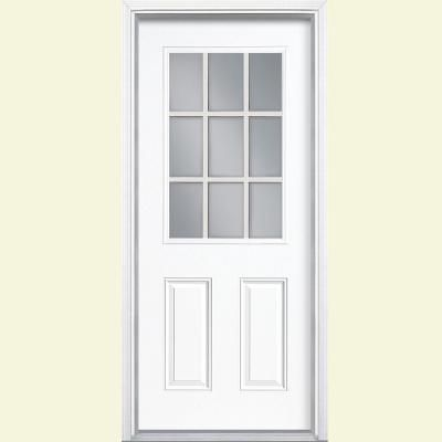 Masonite 32 In X 80 In 9 Lite Left Hand Inswing Ultra White Painted Steel Prehung Front Exterior Door With Brickmold 26738 The Home Depot Steel Entry Doors Entry Doors Steel Doors Exterior