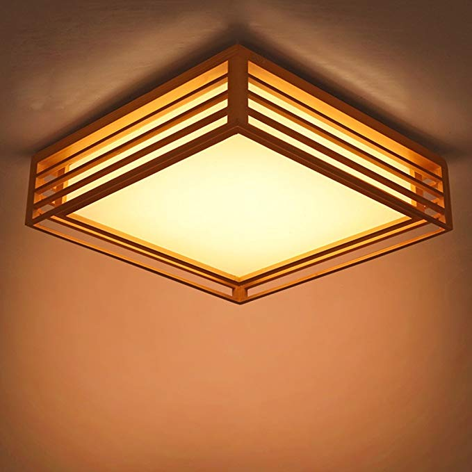 55 Cm Japanese Style Ceiling Lamp Restaurant Bedroom Balcony Room Lights Led Ceiling Lamp Solid Wood Square Lamp Amazo Ceiling Lamp Room Lights Japanese Lamps