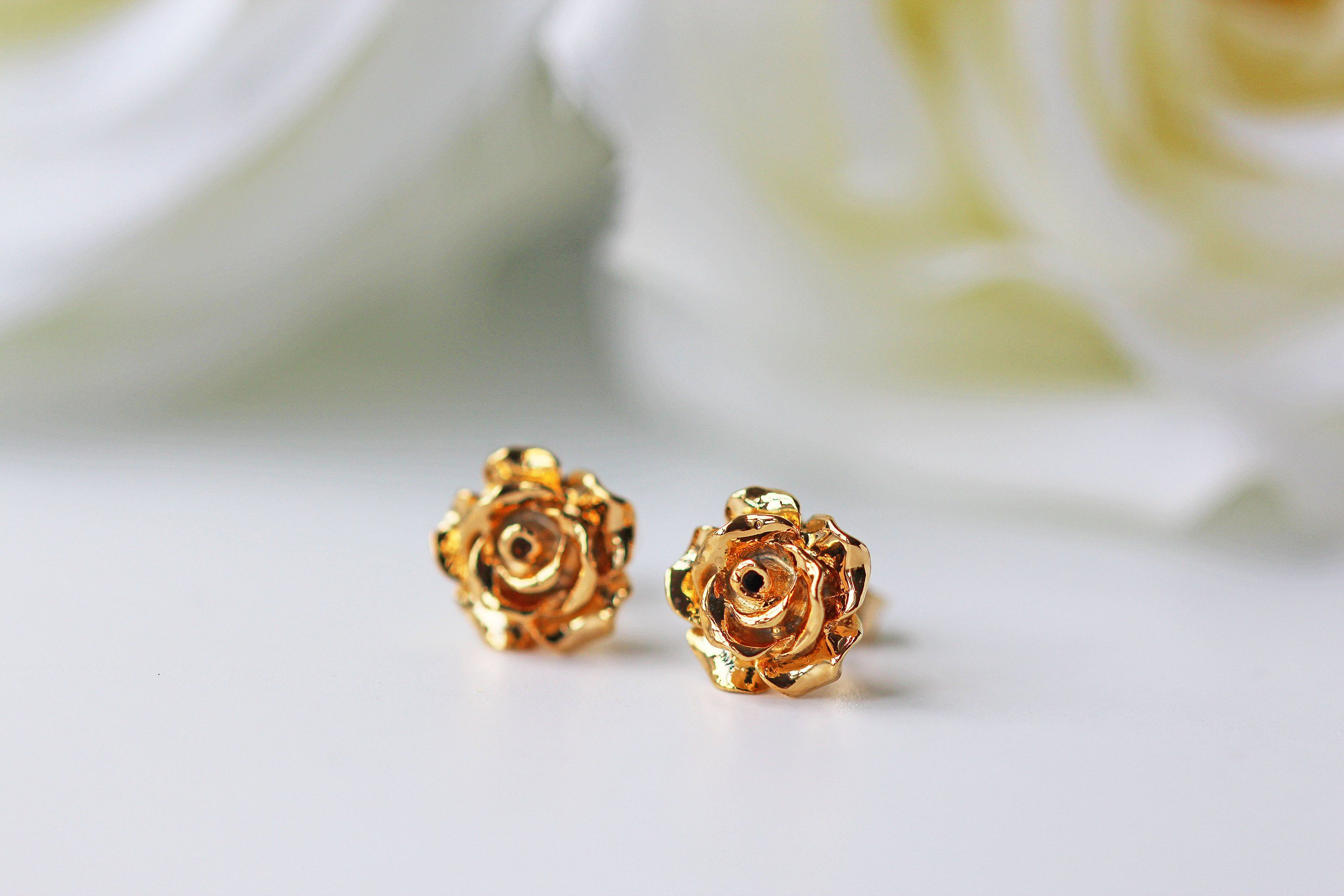 Gold Rose Flower Stud Earrings Rose Valentine Love Stud Earrings Rose Earrings Earrings