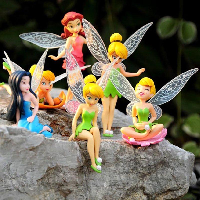 6 pz/set di natale scherza il regalo tinkerbell bambole volare fata fiore bambini cartoon animazione toys ragazze bambole giocattolo del bambino rt016
