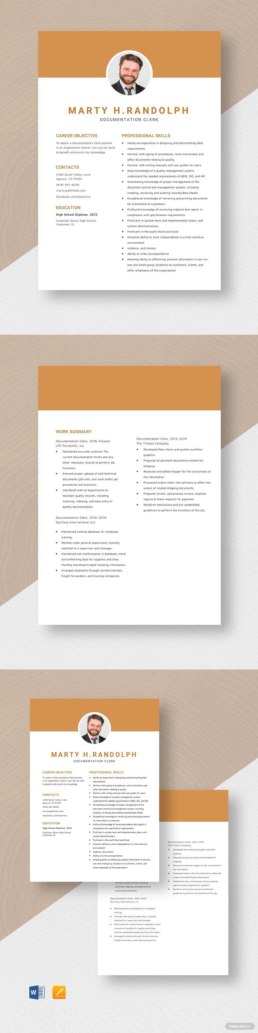 Documentation clerk resume resume design template