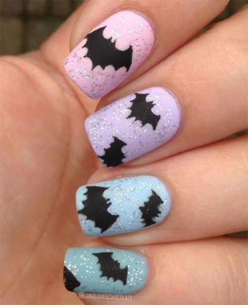 Cute Pastel Bat Nail Art Design for Halloween - Wp_ad_camp_1] Bats, Spiders, Monsters, Corpses, Vampires And