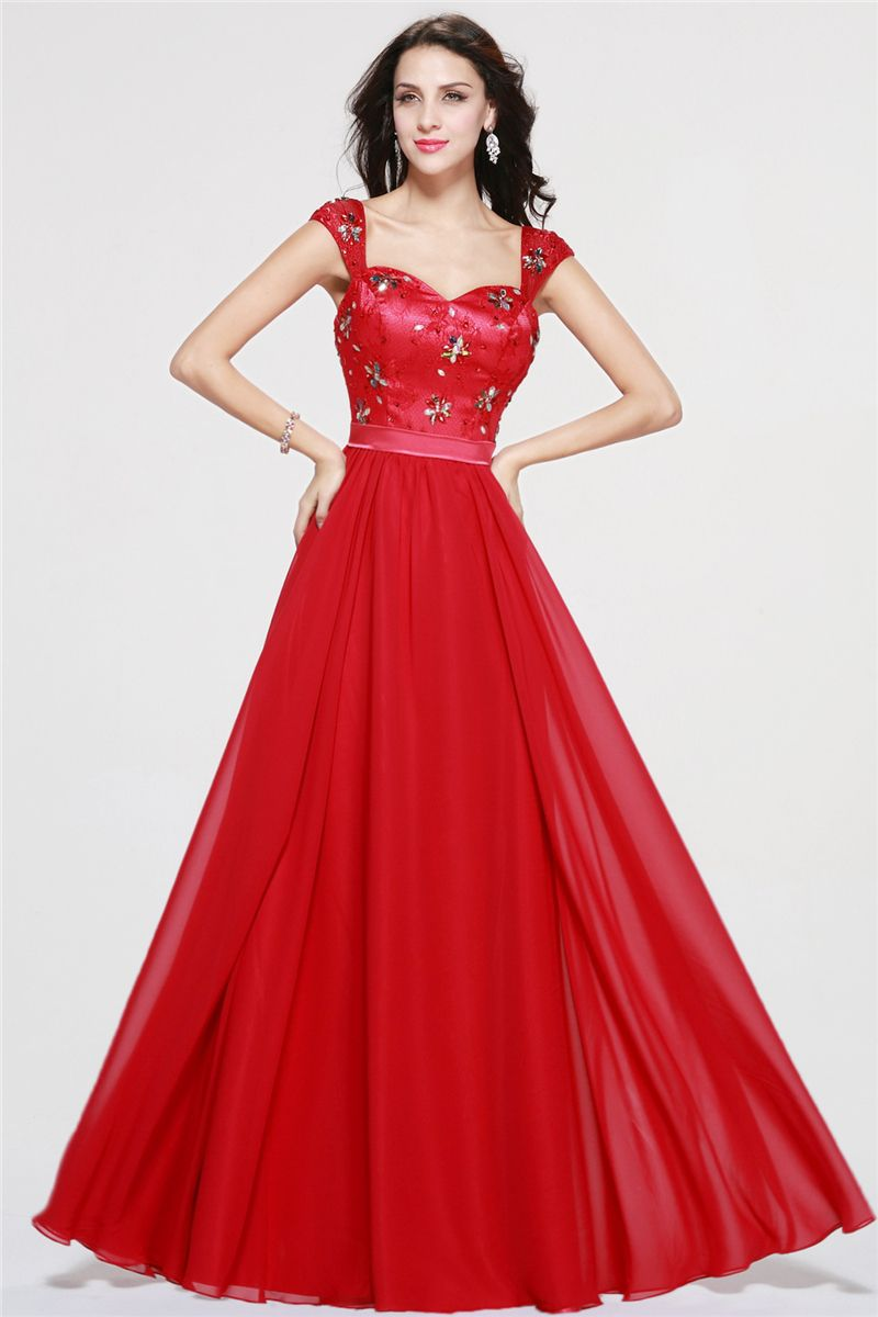 Red evening gown beading sequins sweetheart cap sleeves long a