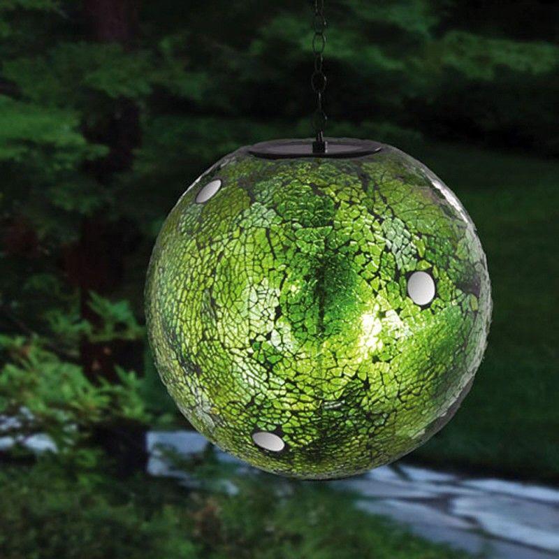 Charming Hanging Solar Gazing Ball Green Mosaic Pattern By Evergreen Enterprises