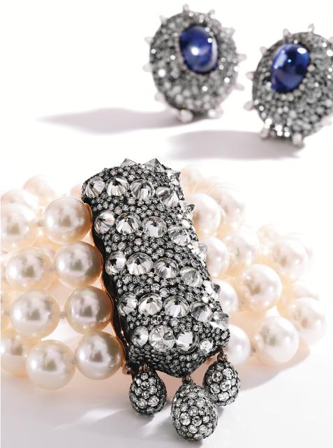 Gold, Blackened Silver, Diamond and Pearl Bracelet by JAR, Paris.