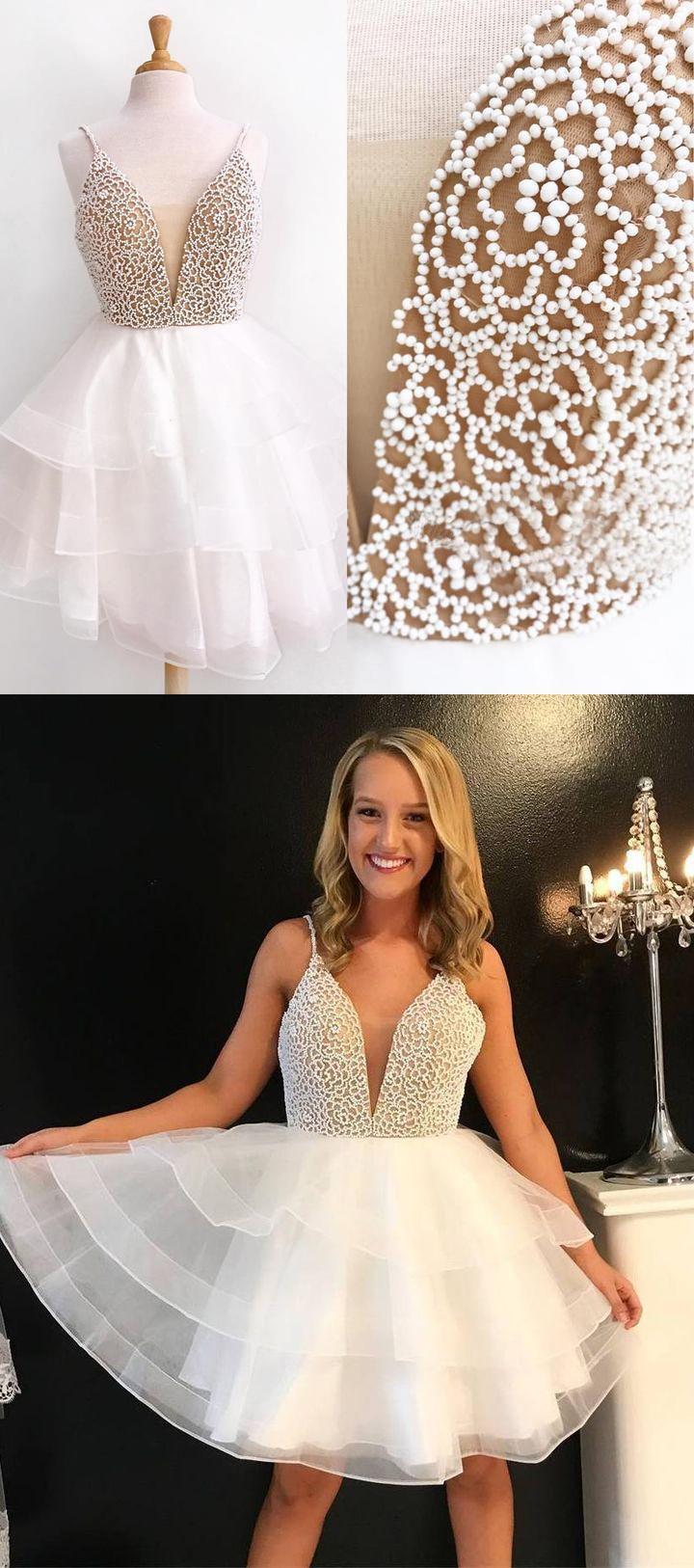 New white homecoming dresses short v neck spaghetti straps tiered