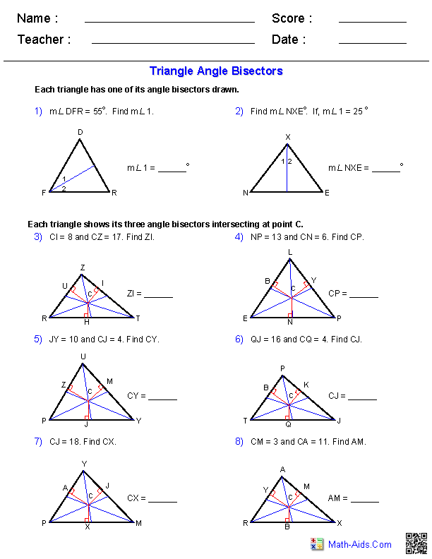angle bisectors worksheets teaching math pinterest worksheets math and geometry worksheets. Black Bedroom Furniture Sets. Home Design Ideas