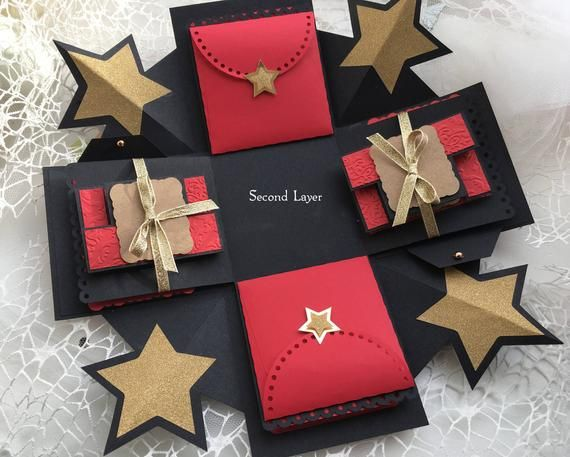 Photo of Red Exploding Photo Box, Explosion Box, Christmas Gift Photo Box, Anniversary present, Romantic Gift for him/her, Happy Birthday Pop up card