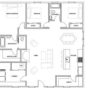 The Cottage 2 bed 1 bath 30 x30 Custom House Plans and Blueprints