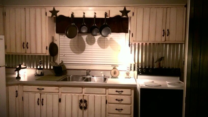 Tin Backsplash Off White Barn Wood Cabinets With Vintage