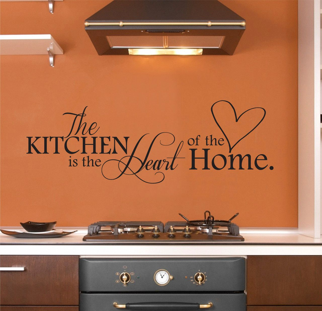 The Kitchen is the Heart of the Home Wall Decal, Kitchen Wall Decor Wall Art