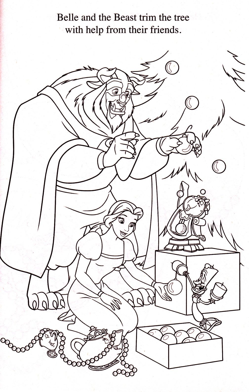 Beauty and the Beast Christmas | Disney coloring pages ...