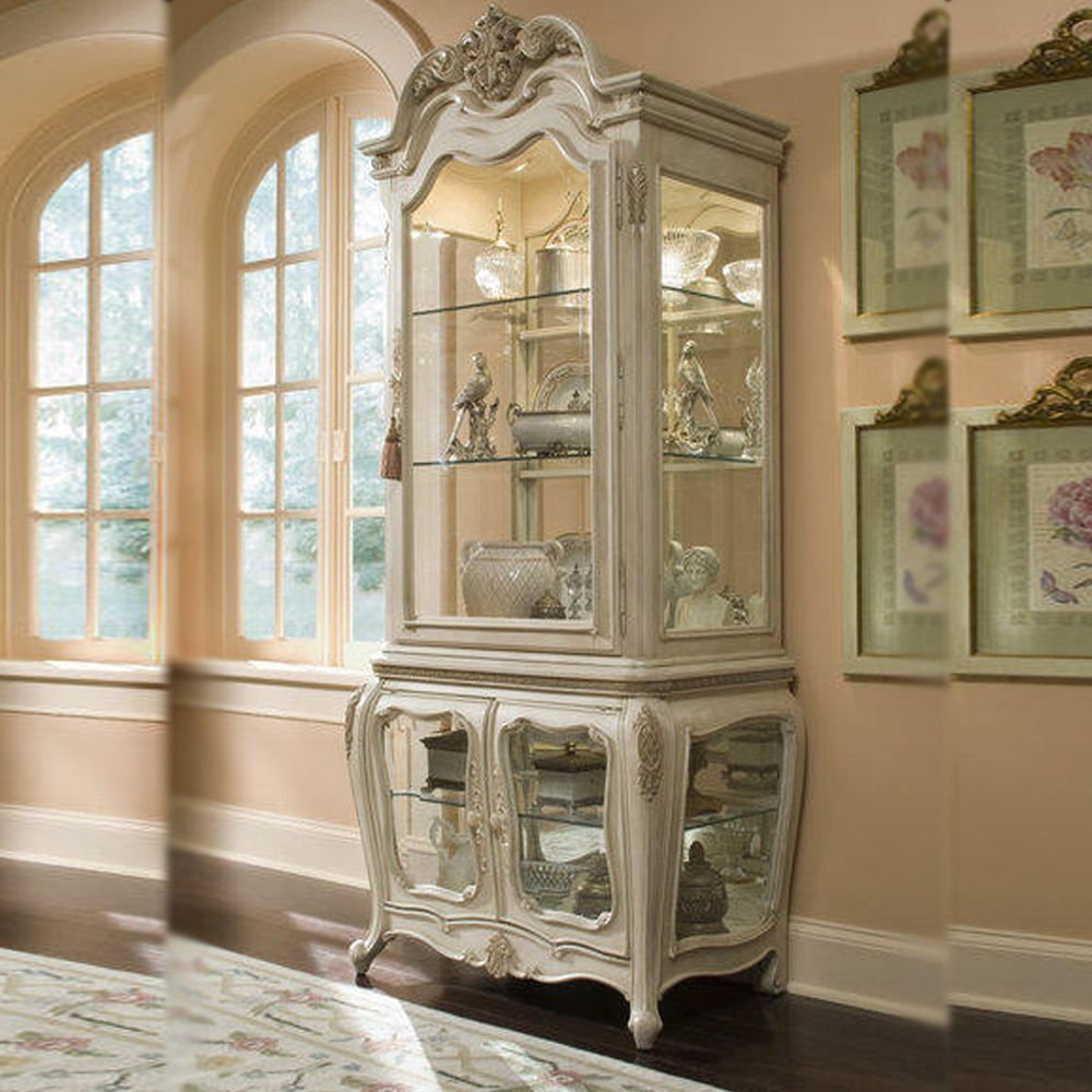 Vintage Antique White Curio Cabinet China Buffet & Hutch Dining Room  Furniture #Contemporary - Vintage Antique White Curio Cabinet China Buffet & Hutch Dining Room