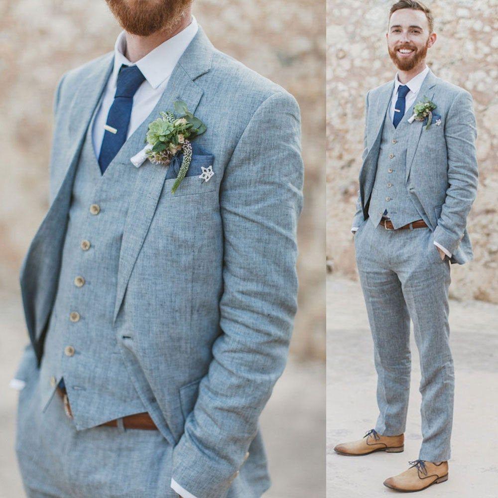 Men's Navy Blue Linen Suits Slim fit 3 Piece Summer Suits for Men Groom Wear Wedding Suits