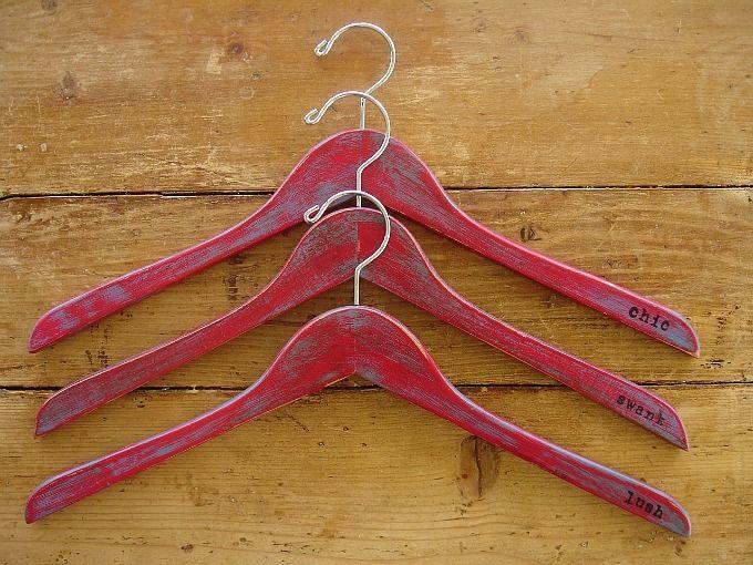 embellished wooden hangers ~ crimson by MiGi Handmade