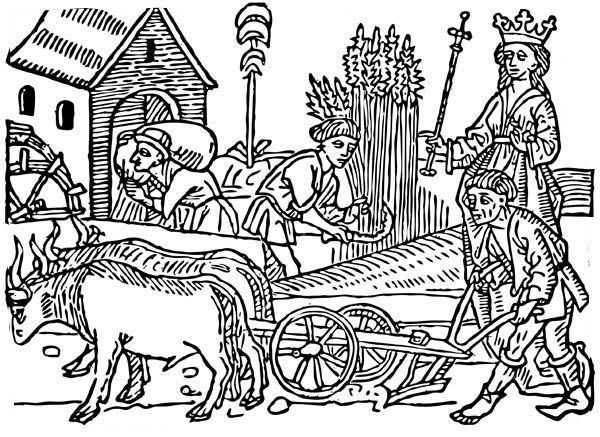 Queen And Her People In Middle Ages Coloring Page Medevil Times
