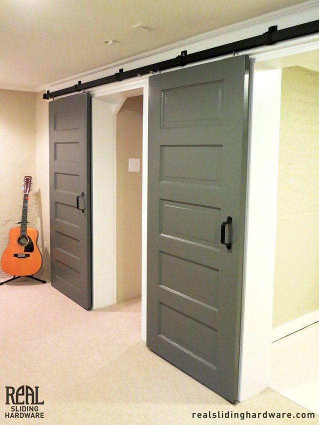 Multi-door box rail hardware featured in a black powdercoat finish. & box-rail-sliding-barn-door-hardware-sliding-barn-door-hardware ...