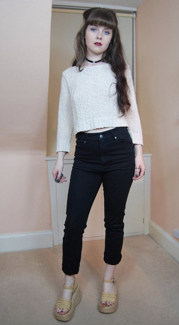 80s 90s Grunge White Cotton Knit Boatneck Cropped Sweater M ...