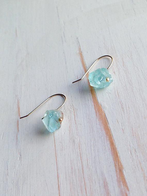 Aquamarine Earrings Raw Aquamarine Earrings Gemstone Jewelry Dangle Aquamarine Earrings