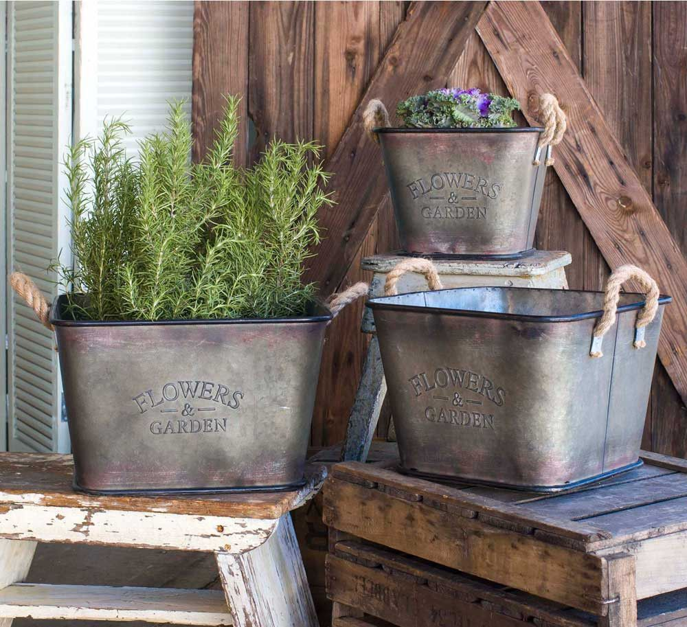 scripted galvanized reproduction flower bins buckets w/ handles
