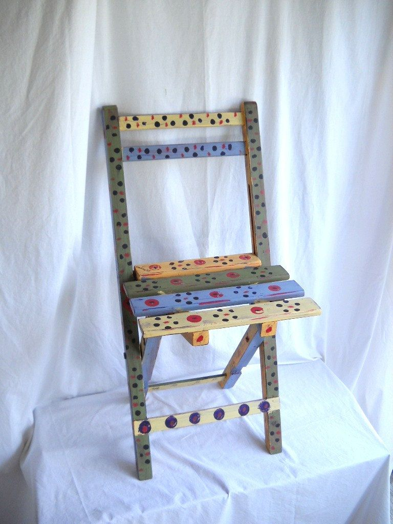 Vintage Painted Chair Wooden Folding Chair Retro Carnival Hand ...