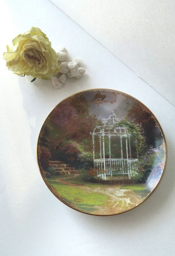 decorative plate wall decor Thomas Kinkade painting collectible plate May birthday anniversary wedding gift vintage porcelain plate & decorative plate wall decor Thomas Kinkade painting collectible ...