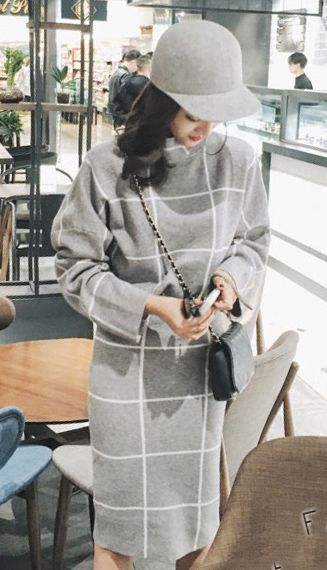 Fashiontroy Street style long sleeves gray checked cotton blend sweater + midi knitted skirt set