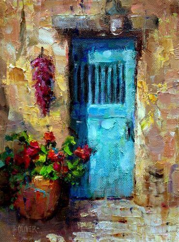 Santa Fe Door original painting by artist Julie Ford Oliver & Santa Fe Door\