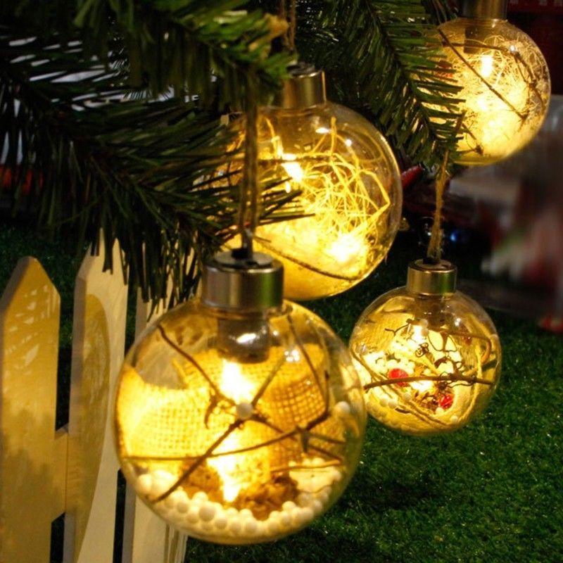 LED Transparent Ball Light Christmas Tree Hanging Ornaments Holiday