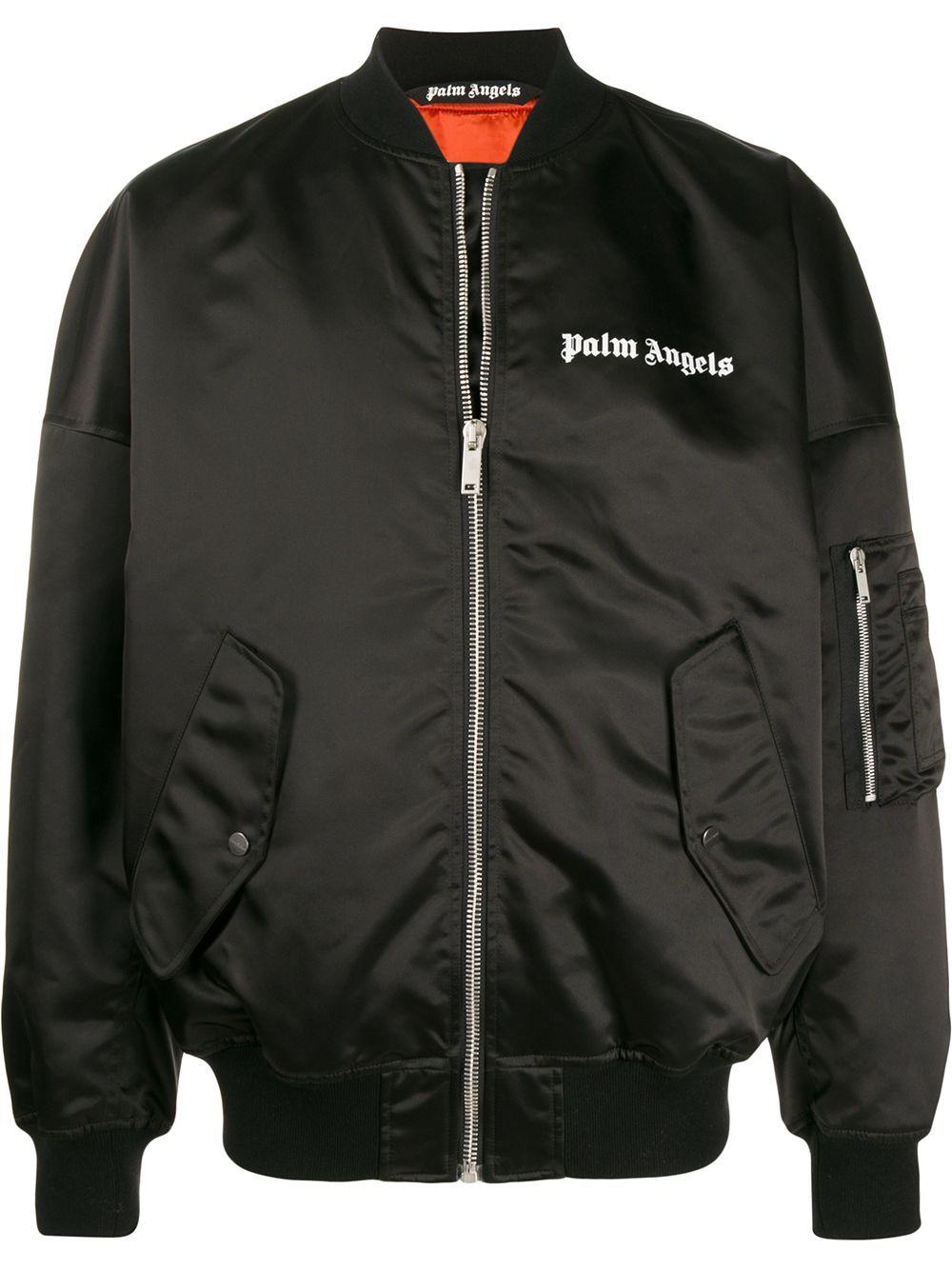 Palm Angels Logo Printed Bomber Jacket Farfetch Bomber Jacket Designer Jackets For Men Printed Bomber Jacket [ 1334 x 1000 Pixel ]