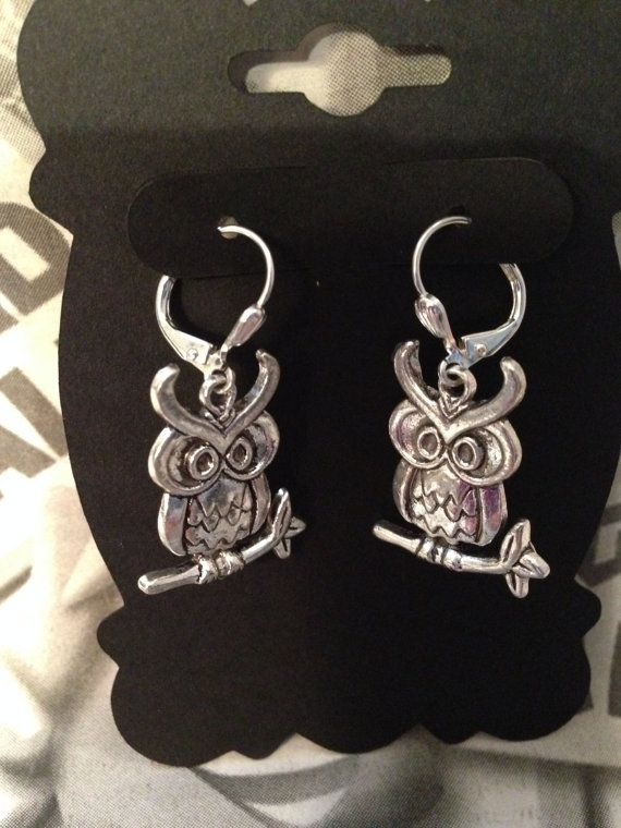 Silver Owl Earrings Large Leverback Earwires by ArtisticSparkle