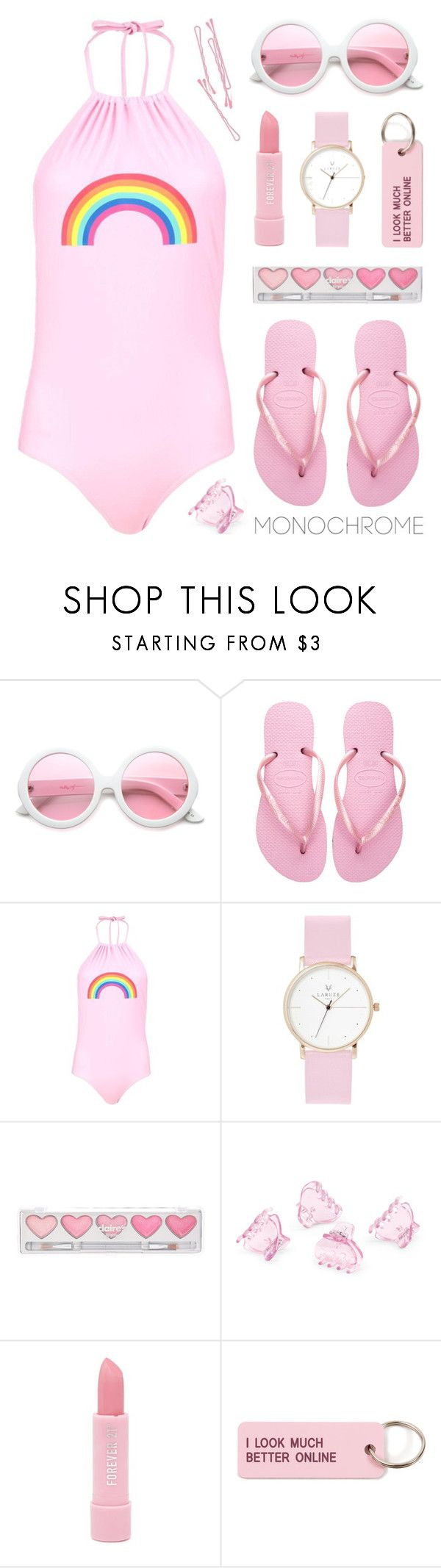 """Pink!"" by lgb321 ❤ liked on Polyvore featuring ZeroUV, Havaianas, Boohoo, Laruze, BOBBY, claire's, H&M, Forever 21, Various Projects and polyvoreeditorial"