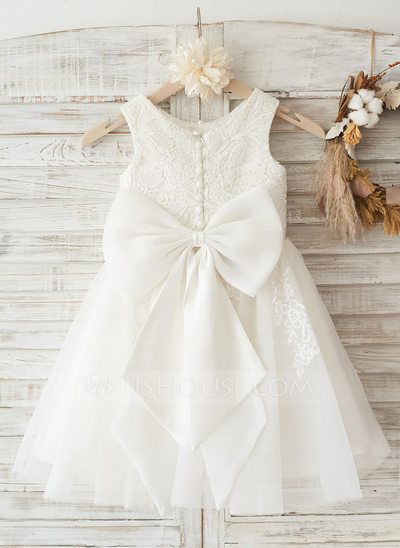ea49ffbfefa  US  67.49  A-Line Princess Knee-length Flower Girl Dress - Tulle Lace  Sleeveless Scoop Neck With Lace Bow(s)
