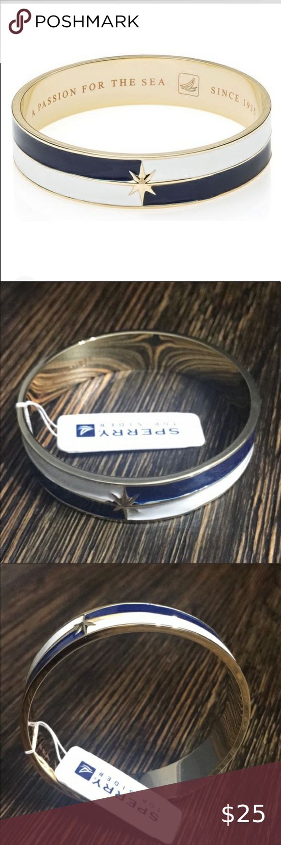 New Sperry Top Sider Star enamel bangle bracelet