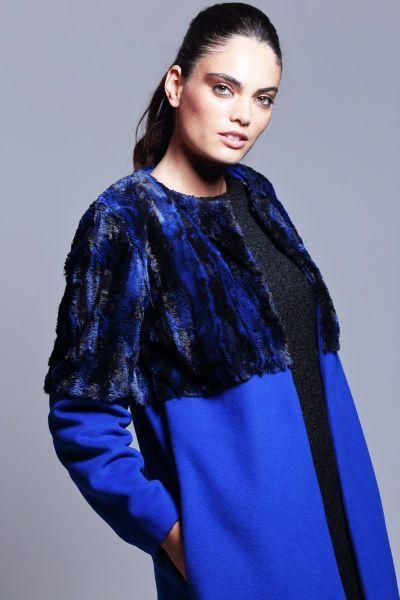 64452c839fc abrigo de fiesta azul klein de paño de lana y cachemir y pelo de otoño  invierno