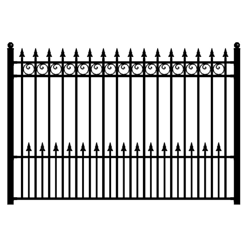 Aleko Prague Style 5 Ft X 8 Ft Black Iron Fence Panel Fencepra Hd The Home Depot Iron Fence Panels Iron Fence Fence Panels