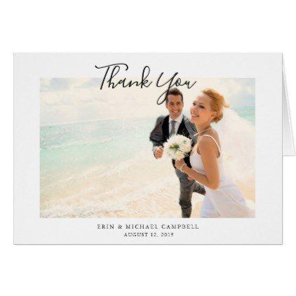 Stylish Modern Photo Wedding Thank You Note Card - chic design idea