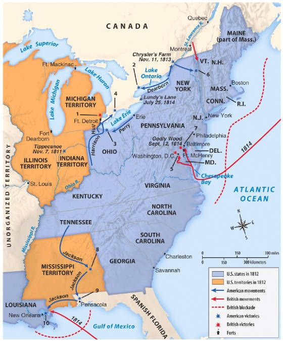 Tippecanoe To Canada Map Map War of 1812 #history #week7 | What is geography, Teaching