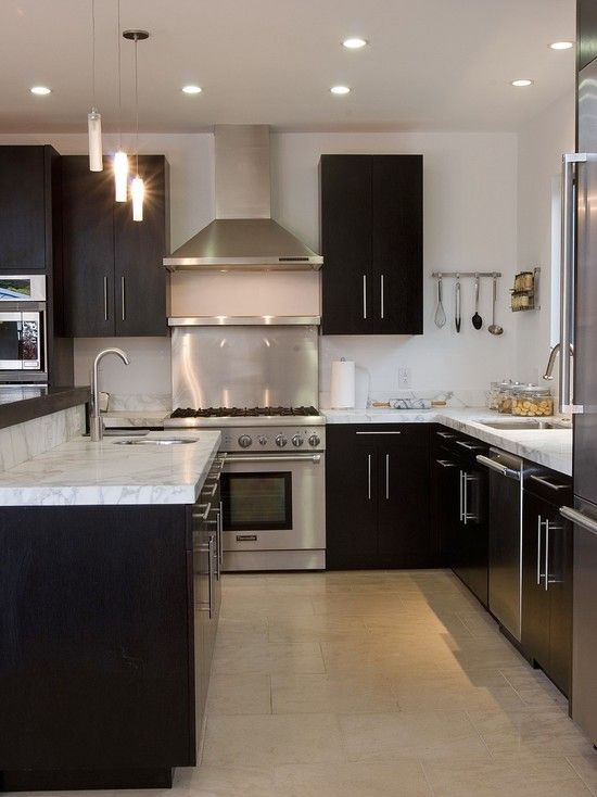 Dark Kitchen Cabinets With White And Carrera Marble I