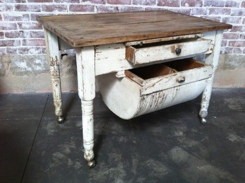 A fabulous rustic table with a flour bin, drawer, and pull-out cutting - A Fabulous Rustic Table With A Flour Bin, Drawer, And Pull-out