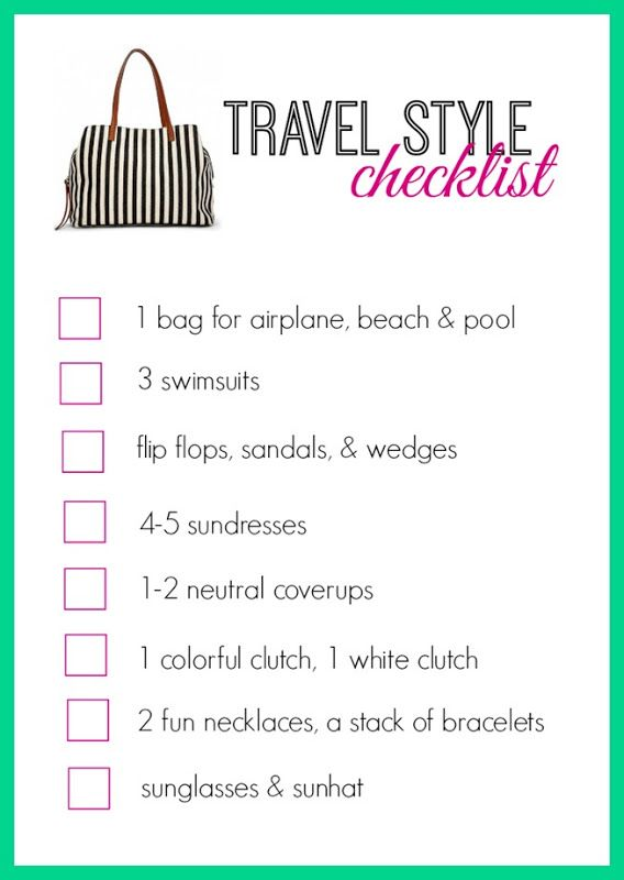 tropical vacation checklist to help with not overpacking