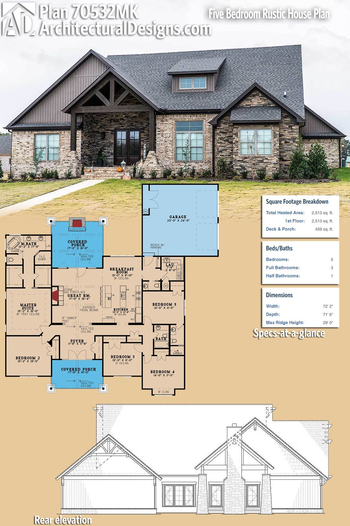 Plan 70532mk Five Bedroom Rustic House Plan Architectural Design House Plans Rustic House Plans Architecture House