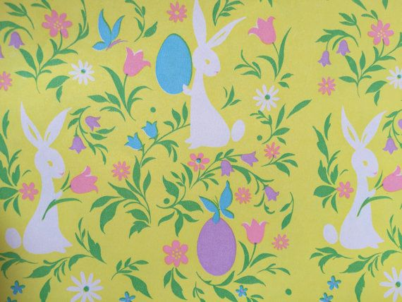 Vintage gift wrapping paper floral easter paper groovy retro vintage gift wrapping paper floral easter paper groovy retro easter bunny with eggs 1 unused full sheet easter gift wrap negle Image collections