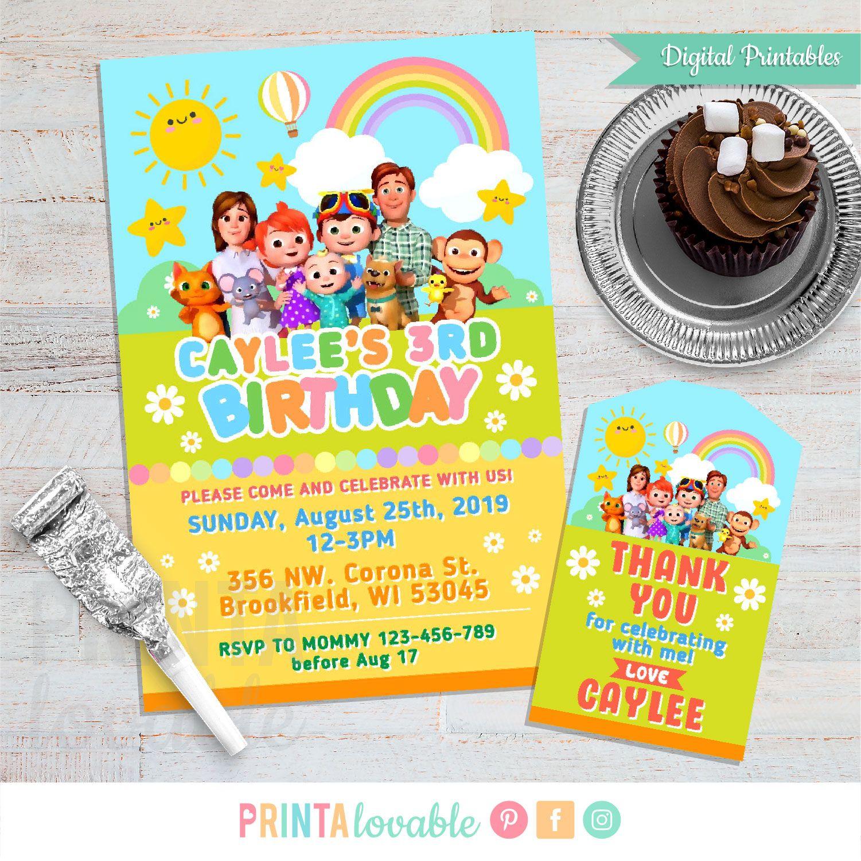 digital cocomelon invitation thank