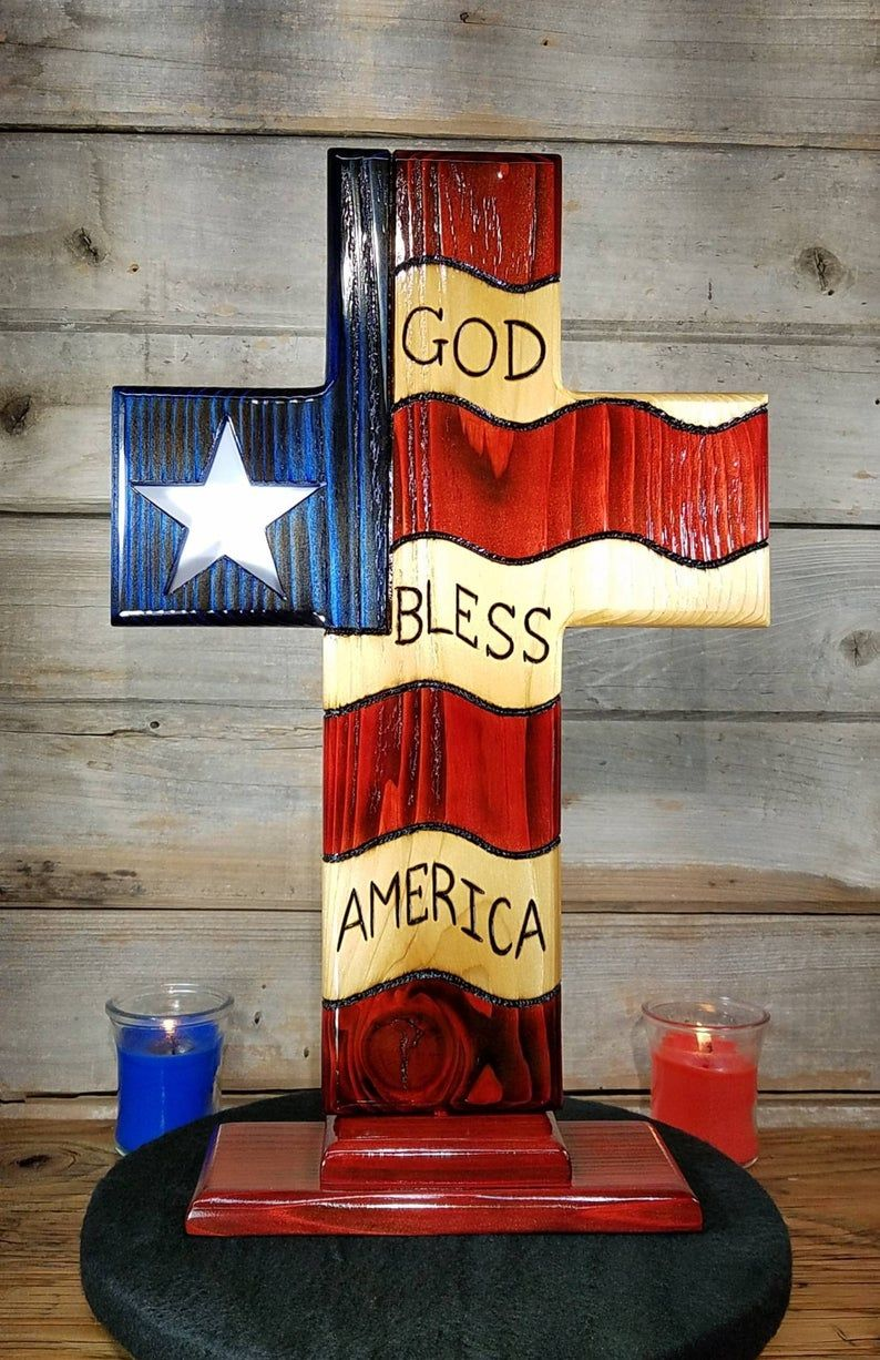American flag cross god bless america stained glass star