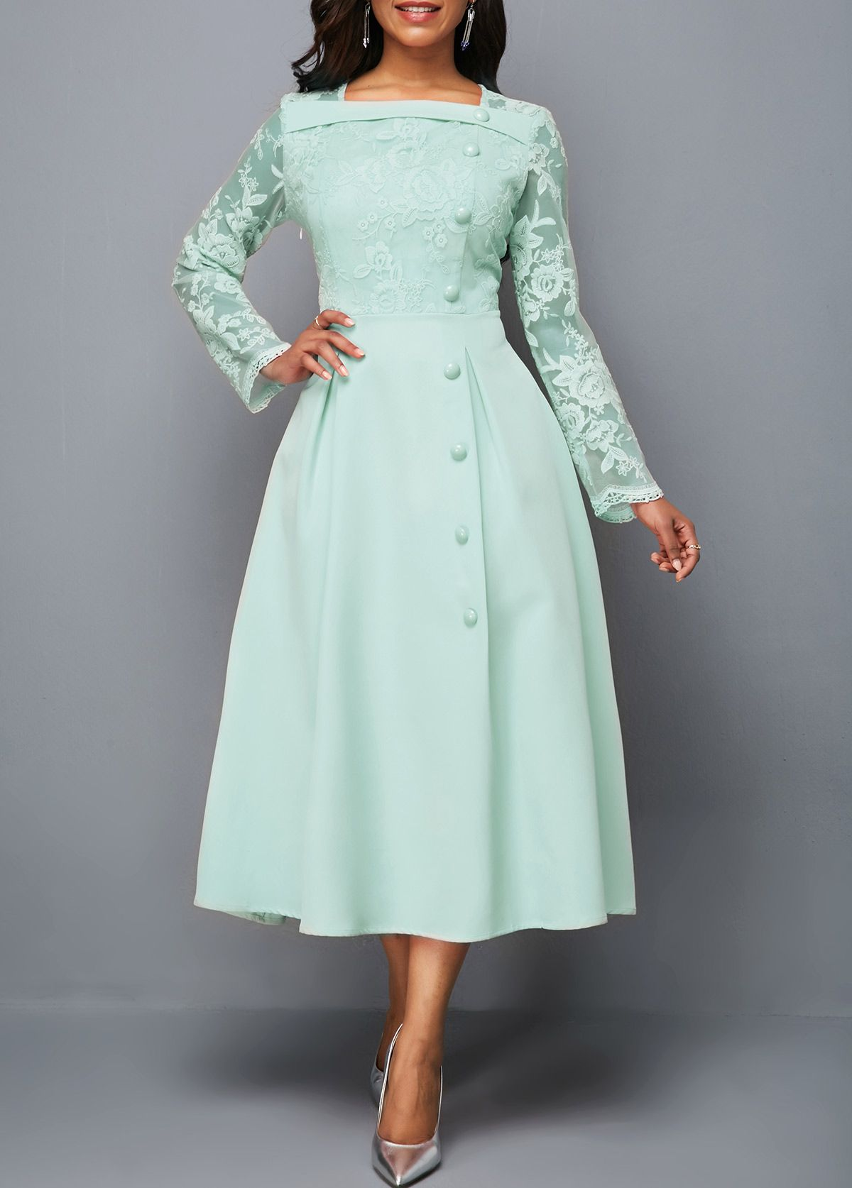 4d377634ddd Lace Panel Long Sleeve Mint Green Midi Dress