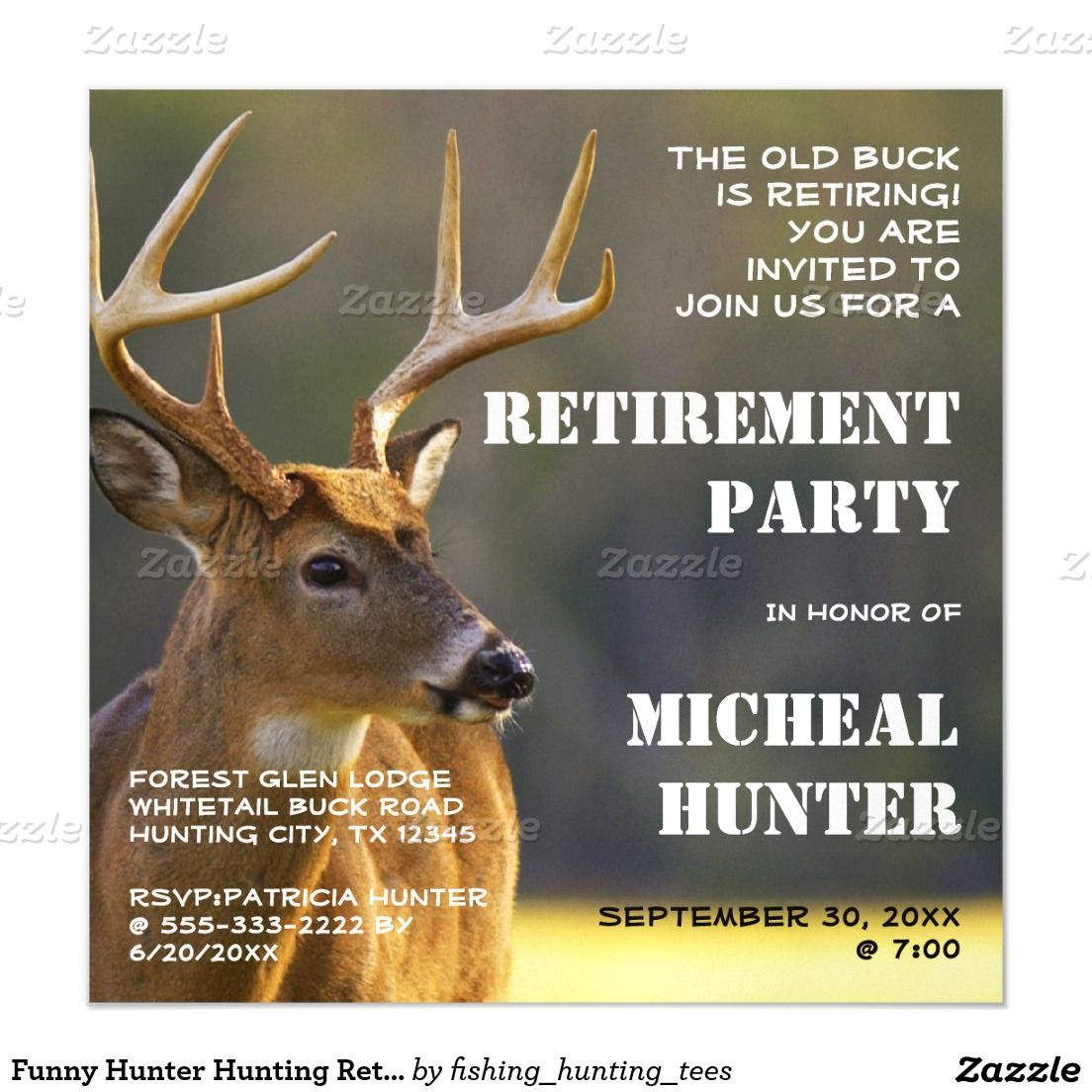 Funny Hunter Hunting Retirement Party Celebration Magnetic ...
