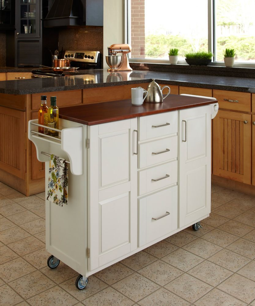 Best Create A Cart White Finish With Cherry Top White Kitchen 400 x 300