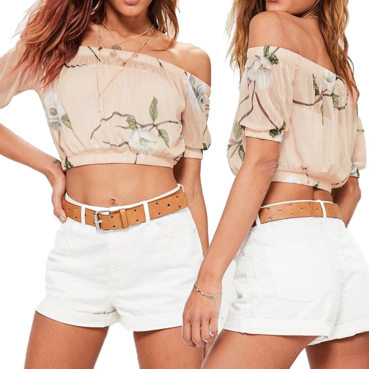Ladies Mesh Sheer Floral Print Off Shoulder Bardot Short Sleeve Crop Top