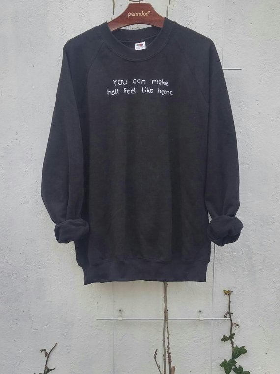 d4e53f53d2c1c Stitched Tumblr Quote Sweatshirt grunge by SpacyShirts on Etsy ...